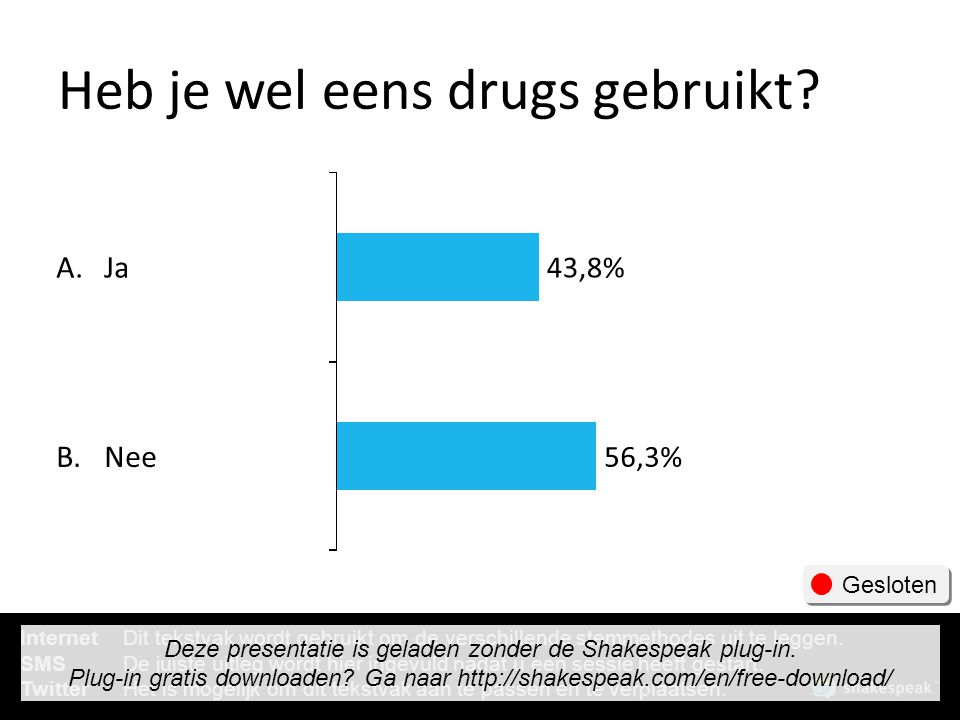 Heb je wel eens drugs gebruikt? A. B. Ja Nee 43,8% 56,3% Gesloten InternetDit tekstvak wordt gebruikt om de verschillende stemmethodes uit te leggen.