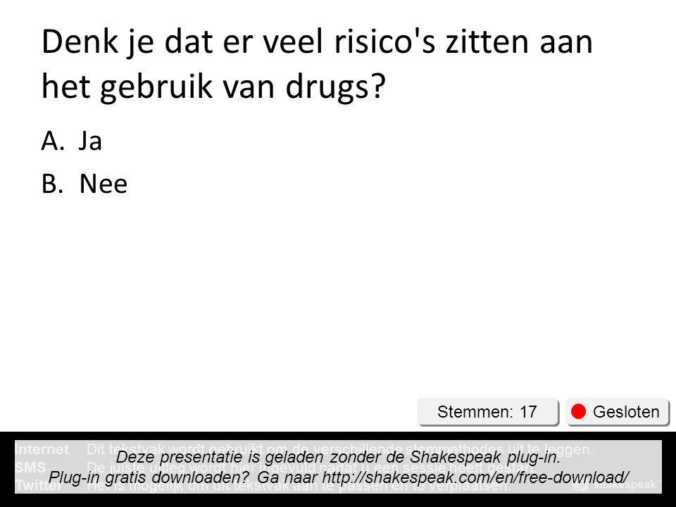 Denk je dat er veel risico's zitten aan het gebruik van drugs? A.Ja B.Nee Stemmen: 17 Gesloten InternetDit tekstvak wordt gebruikt om de verschillende