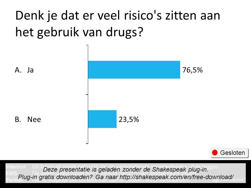 Denk je dat er veel risico's zitten aan het gebruik van drugs? A. B. Ja Nee 76,5% 23,5% Gesloten InternetDit tekstvak wordt gebruikt om de verschillen