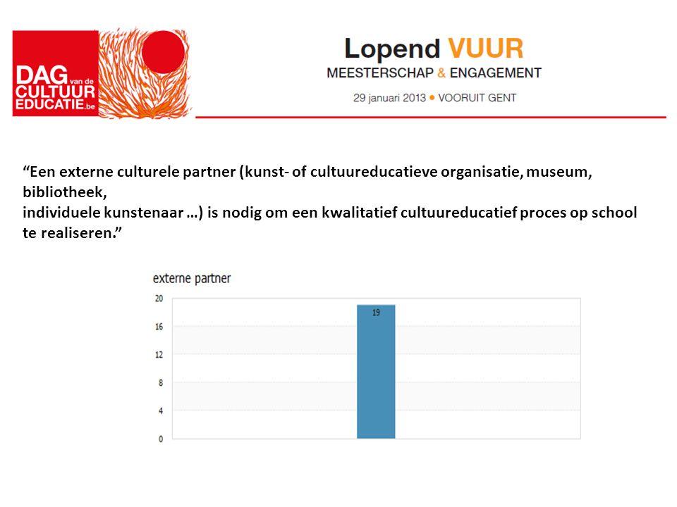 Een externe culturele partner (kunst- of cultuureducatieve organisatie, museum, bibliotheek, individuele kunstenaar …) is nodig om een kwalitatief cultuureducatief proces op school te realiseren.