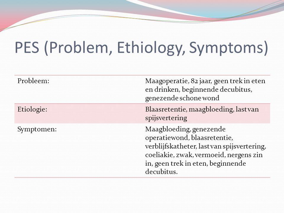 PES (Problem, Ethiology, Symptoms) Probleem:Maagoperatie, 82 jaar, geen trek in eten en drinken, beginnende decubitus, genezende schone wond Etiologie