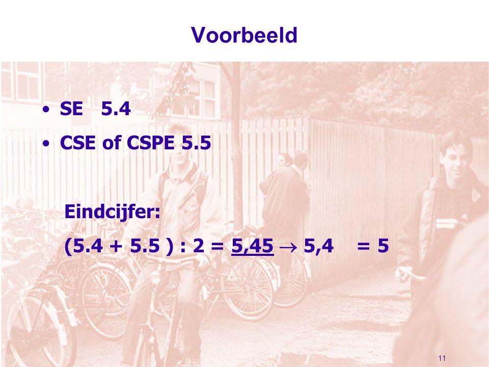 11 Voorbeeld SE 5.4 CSE of CSPE 5.5 Eindcijfer: (5.4 + 5.5 ) : 2 = 5,45  5,4 = 5