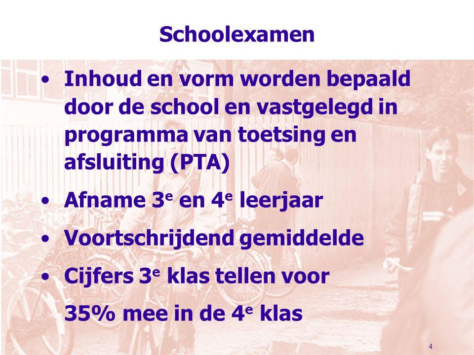 4 Schoolexamen Inhoud en vorm worden bepaald door de school en vastgelegd in programma van toetsing en afsluiting (PTA) Afname 3 e en 4 e leerjaar Voo