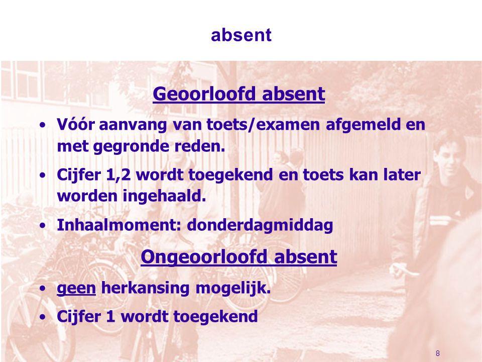 absent Geoorloofd absent Vóór aanvang van toets/examen afgemeld en met gegronde reden. Cijfer 1,2 wordt toegekend en toets kan later worden ingehaald.