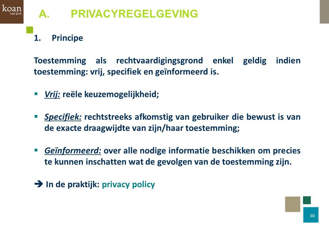 10 1.Principe Toestemming als rechtvaardigingsgrond enkel geldig indien toestemming: vrij, specifiek en geïnformeerd is.  Vrij: reële keuzemogelijkhe