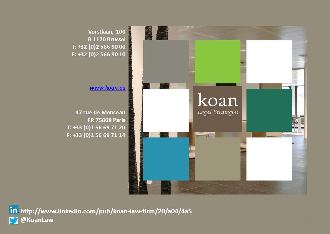 Vorstlaan, 100 B 1170 Brussel T: +32 (0)2 566 90 00 F: +32 (0)2 566 90 10 www.koan.eu 47 rue de Monceau FR 75008 Paris T: +33 (0)1 56 69 71 20 F: +33