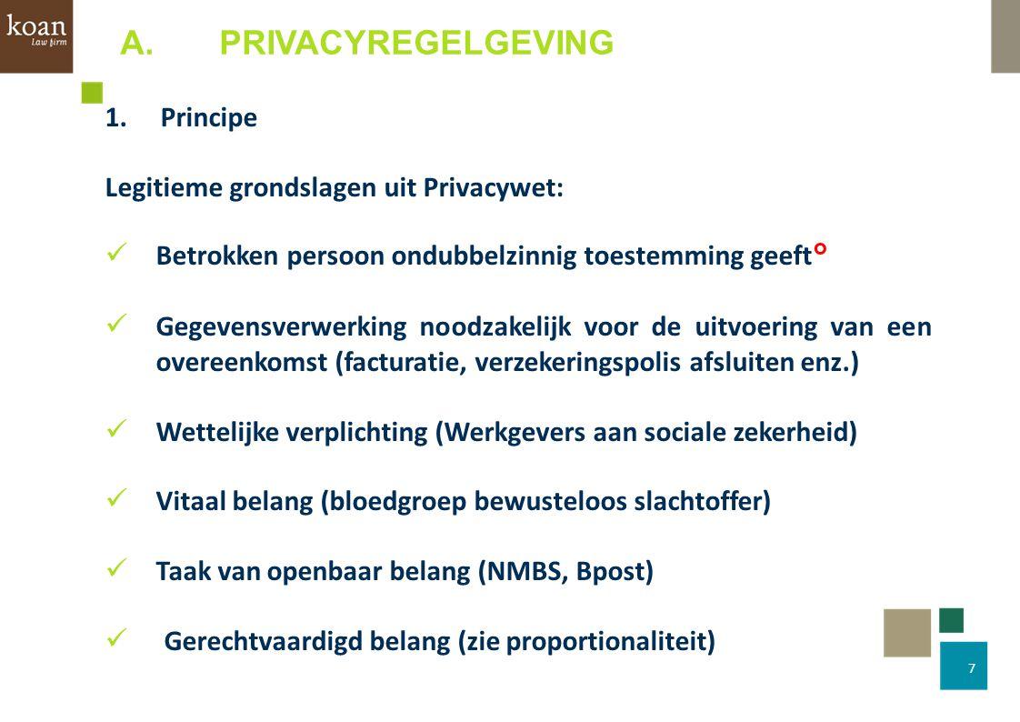 7 1.Principe Legitieme grondslagen uit Privacywet: Betrokken persoon ondubbelzinnig toestemming geeft° Gegevensverwerking noodzakelijk voor de uitvoer