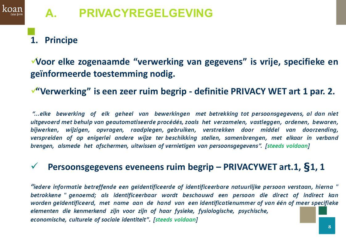 """1.Principe Voor elke zogenaamde """"verwerking van gegevens"""" is vrije, specifieke en geïnformeerde toestemming nodig. """"Verwerking"""" is een zeer ruim begri"""