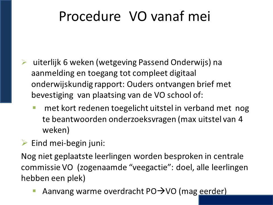 Procedure VO vanaf mei  uiterlijk 6 weken (wetgeving Passend Onderwijs) na aanmelding en toegang tot compleet digitaal onderwijskundig rapport: Ouder