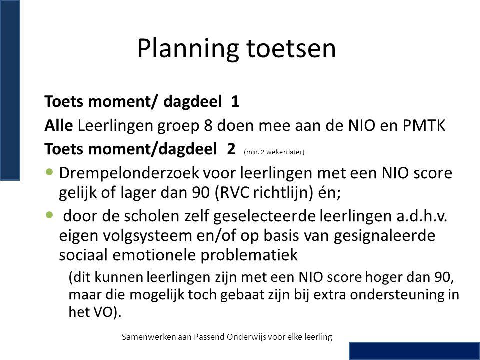 Planning toetsen Toets moment/ dagdeel 1 Alle Leerlingen groep 8 doen mee aan de NIO en PMTK Toets moment/dagdeel 2 (min. 2 weken later) Drempelonderz
