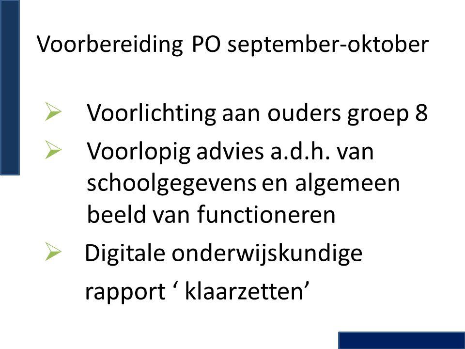 Actie SOS en PO: oktober t/m december Afname capaciteiten onderzoek en vragenlijst sociaal emotionele ontwikkeling:  NIO: Nederlandse Intelligentie test voor Onderwijsniveau  PMT-K2: Prestatie Motivatie Test voor Kinderen