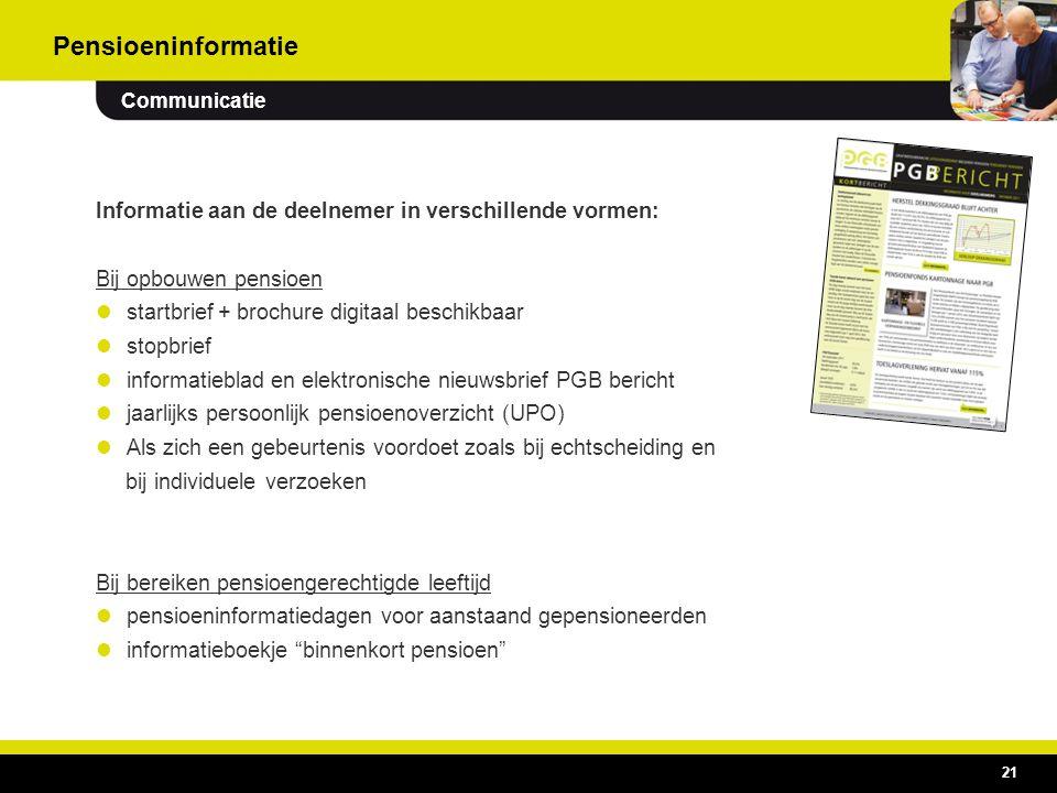 21 Informatie aan de deelnemer in verschillende vormen: Bij opbouwen pensioen startbrief + brochure digitaal beschikbaar stopbrief informatieblad en e
