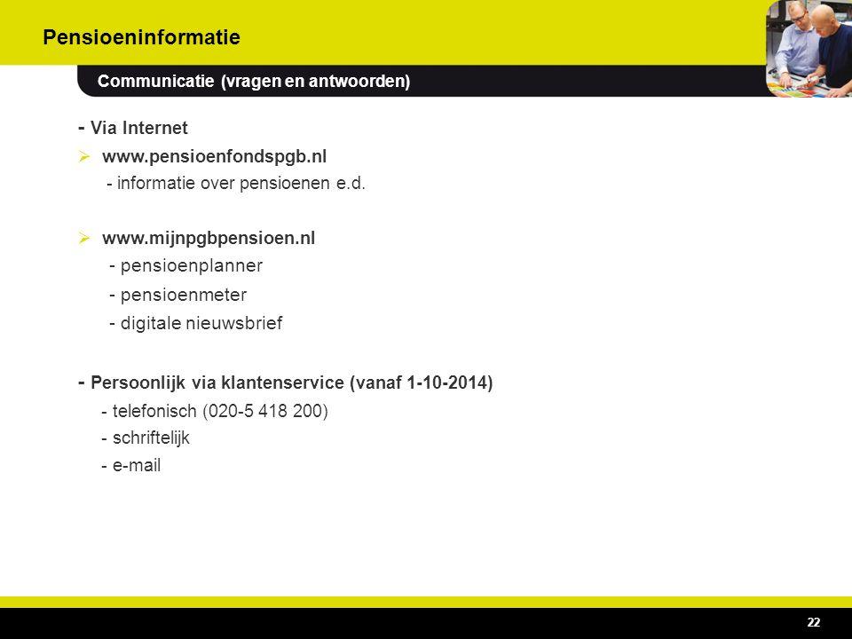 22 - Via Internet  www.pensioenfondspgb.nl - informatie over pensioenen e.d.  www.mijnpgbpensioen.nl - pensioenplanner - pensioenmeter - digitale ni