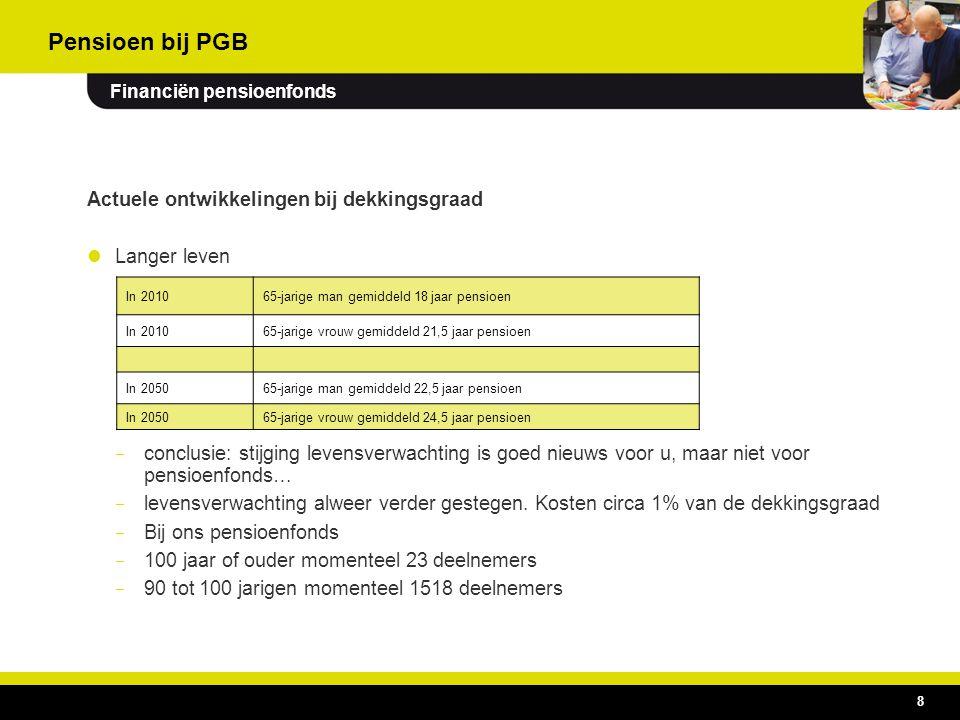 19 Activiteiten uitvoeringsorganisatie voor de pensioenregeling Activiteiten – pensioenen beheren, uitkeren en daarover communiceren – vermogensbeheer – beleidsondersteuning Kenmerken – BV waarvan PGB de enige aandeelhouder is.