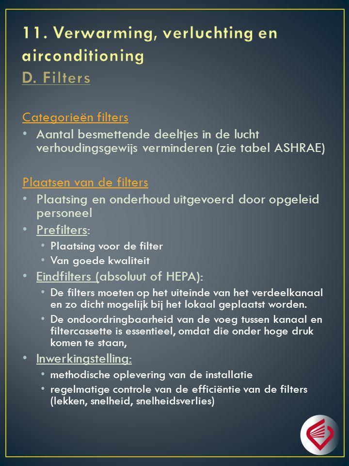 Categorieën filters Aantal besmettende deeltjes in de lucht verhoudingsgewijs verminderen (zie tabel ASHRAE) Plaatsen van de filters Plaatsing en onderhoud uitgevoerd door opgeleid personeel Prefilters: Plaatsing voor de filter Van goede kwaliteit Eindfilters (absoluut of HEPA): De filters moeten op het uiteinde van het verdeelkanaal en zo dicht mogelijk bij het lokaal geplaatst worden.