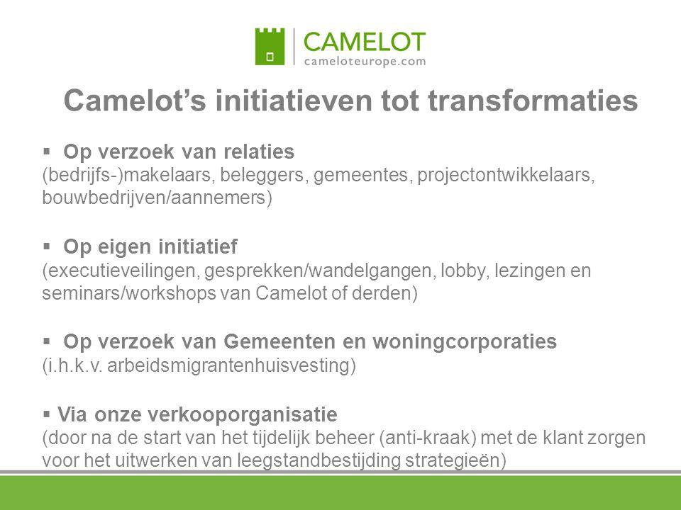 Camelot's initiatieven tot transformaties  Op verzoek van relaties (bedrijfs-)makelaars, beleggers, gemeentes, projectontwikkelaars, bouwbedrijven/aa