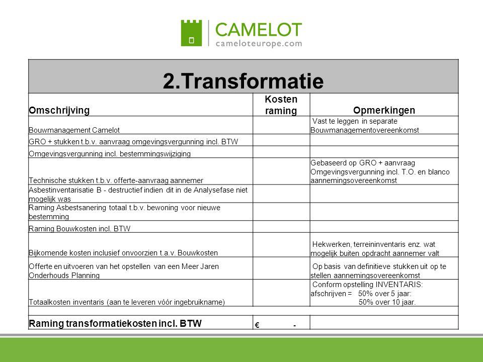 2.Transformatie Omschrijving Kosten ramingOpmerkingen Bouwmanagement Camelot Vast te leggen in separate Bouwmanagementovereenkomst GRO + stukken t.b.v