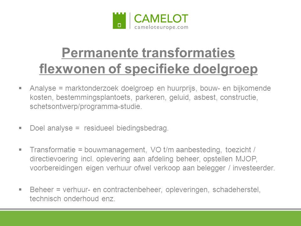 Permanente transformaties flexwonen of specifieke doelgroep  Analyse = marktonderzoek doelgroep en huurprijs, bouw- en bijkomende kosten, bestemmings
