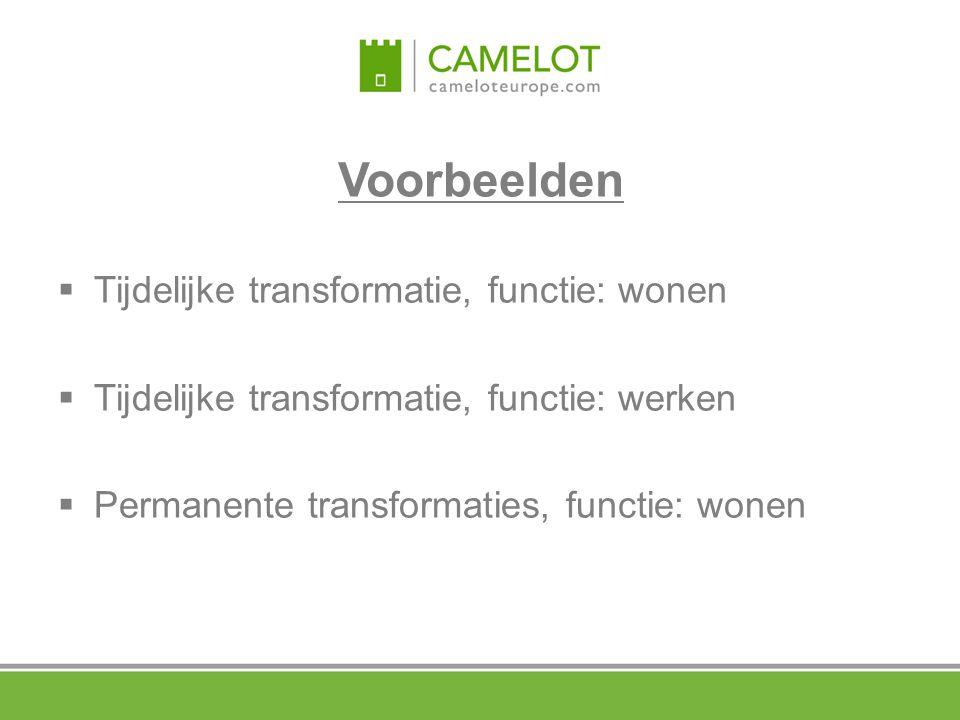 Voorbeelden  Tijdelijke transformatie, functie: wonen  Tijdelijke transformatie, functie: werken  Permanente transformaties, functie: wonen