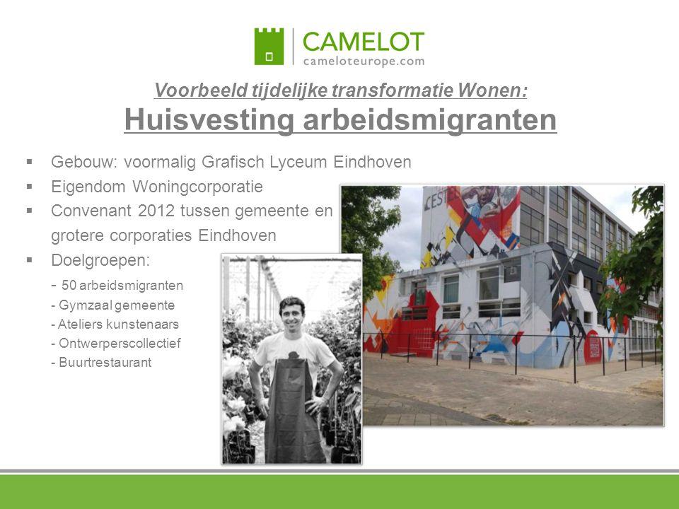 Voorbeeld tijdelijke transformatie Wonen: Huisvesting arbeidsmigranten  Gebouw: voormalig Grafisch Lyceum Eindhoven  Eigendom Woningcorporatie  Con