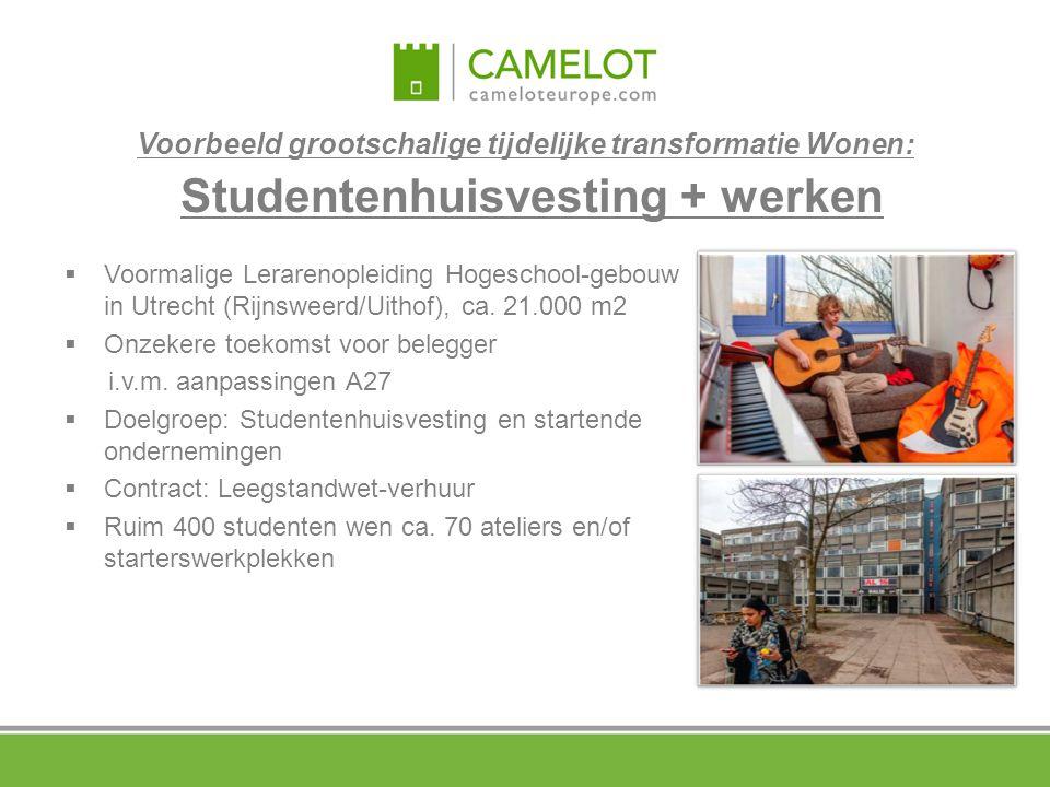 Voorbeeld grootschalige tijdelijke transformatie Wonen: Studentenhuisvesting + werken  Voormalige Lerarenopleiding Hogeschool-gebouw in Utrecht (Rijn