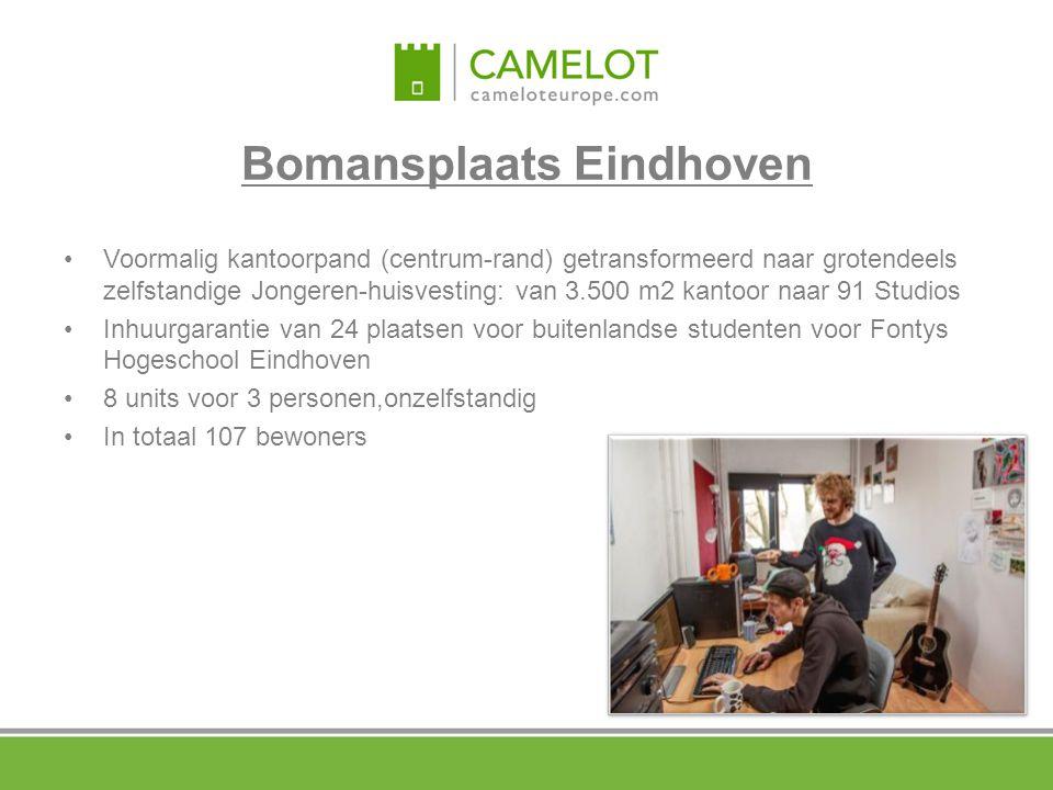 Bomansplaats Eindhoven Voormalig kantoorpand (centrum-rand) getransformeerd naar grotendeels zelfstandige Jongeren-huisvesting: van 3.500 m2 kantoor n