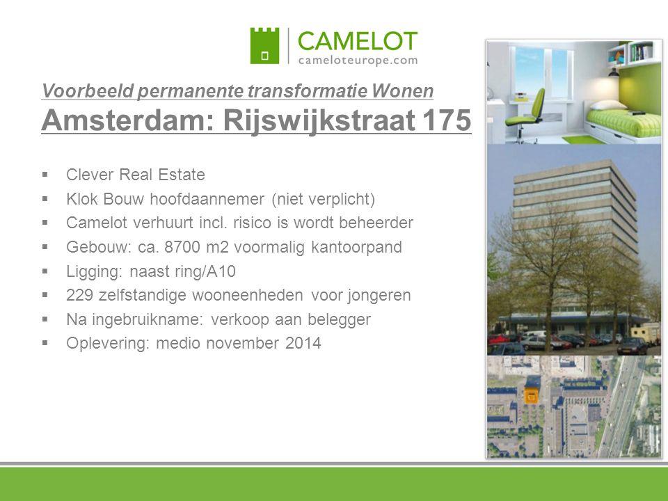 Voorbeeld permanente transformatie Wonen Amsterdam: Rijswijkstraat 175  Clever Real Estate  Klok Bouw hoofdaannemer (niet verplicht)  Camelot verhu