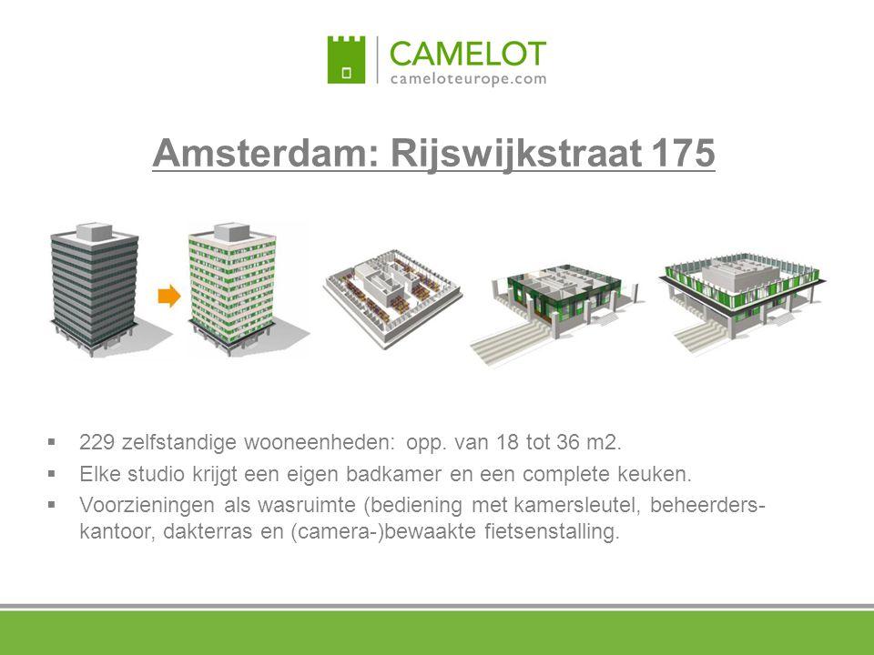Amsterdam: Rijswijkstraat 175  229 zelfstandige wooneenheden: opp. van 18 tot 36 m2.  Elke studio krijgt een eigen badkamer en een complete keuken.