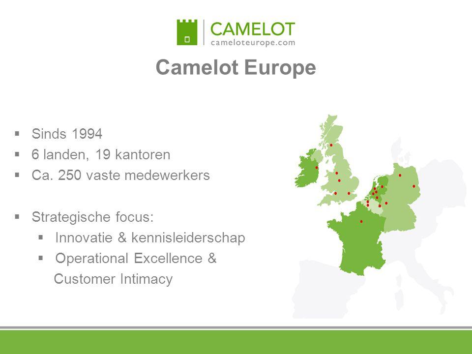 Camelot Europe  Sinds 1994  6 landen, 19 kantoren  Ca. 250 vaste medewerkers  Strategische focus:  Innovatie & kennisleiderschap  Operational Ex