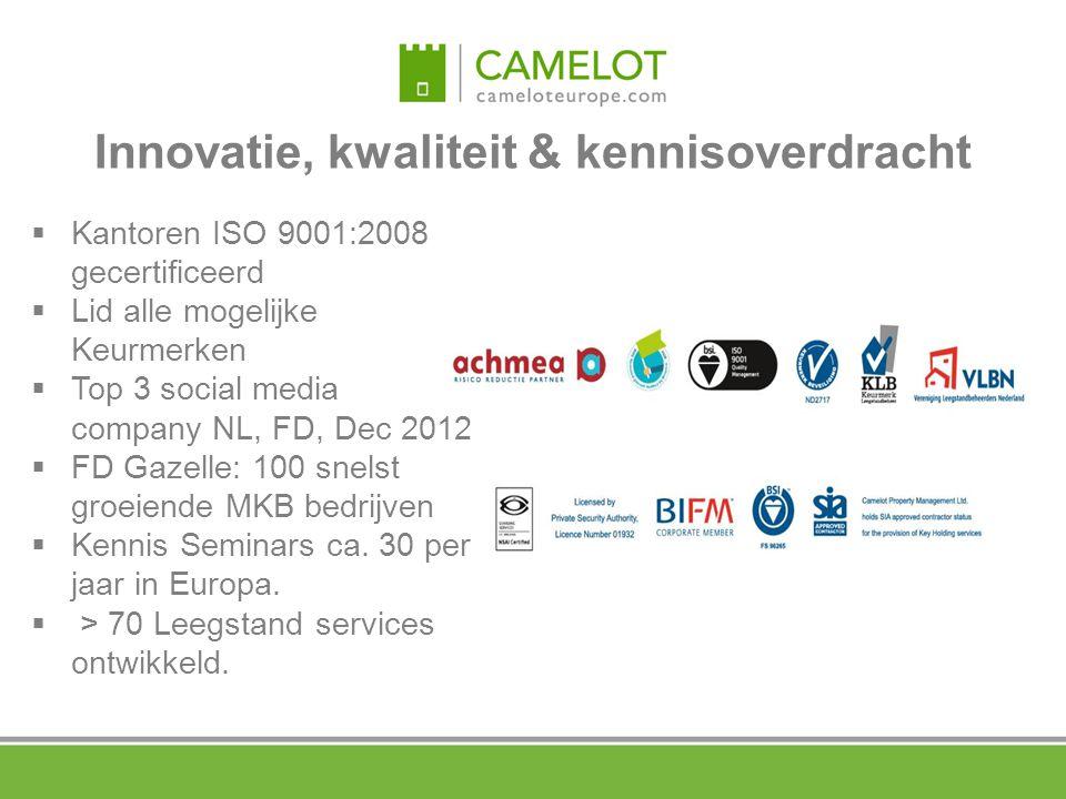  Kantoren ISO 9001:2008 gecertificeerd  Lid alle mogelijke Keurmerken  Top 3 social media company NL, FD, Dec 2012  FD Gazelle: 100 snelst groeien