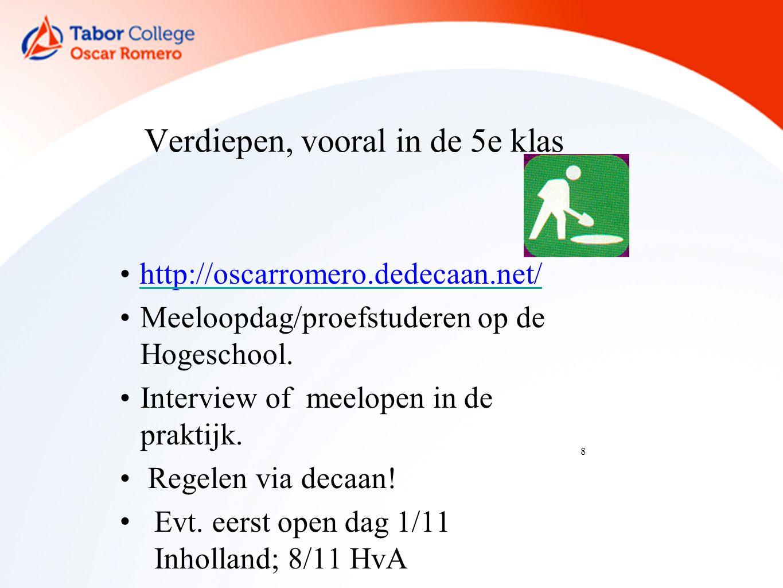 8 Verdiepen, vooral in de 5e klas http://oscarromero.dedecaan.net/ Meeloopdag/proefstuderen op de Hogeschool.