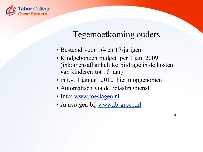 15 Tegemoetkoming ouders Bestemd voor 16- en 17-jarigen Kindgebonden budget per 1 jan.