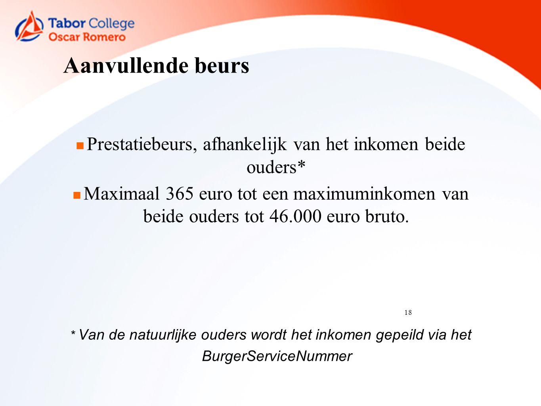 18 Aanvullende beurs Prestatiebeurs, afhankelijk van het inkomen beide ouders* Maximaal 365 euro tot een maximuminkomen van beide ouders tot 46.000 euro bruto.