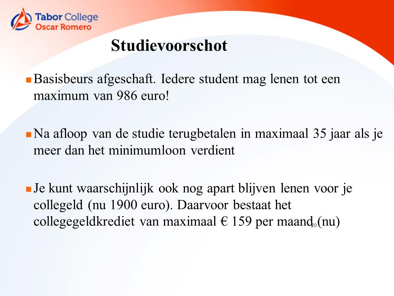 20 Studievoorschot Basisbeurs afgeschaft. Iedere student mag lenen tot een maximum van 986 euro.