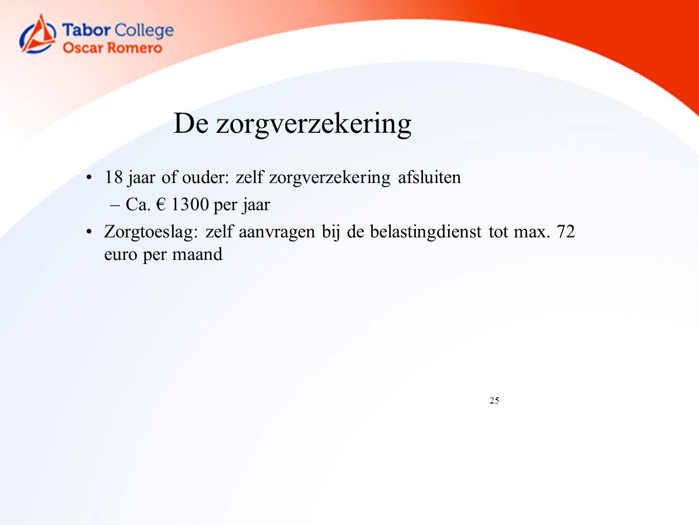 25 De zorgverzekering 18 jaar of ouder: zelf zorgverzekering afsluiten –Ca.