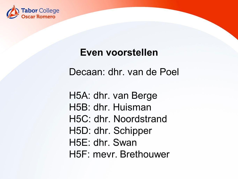 Even voorstellen Decaan: dhr. van de Poel H5A: dhr.