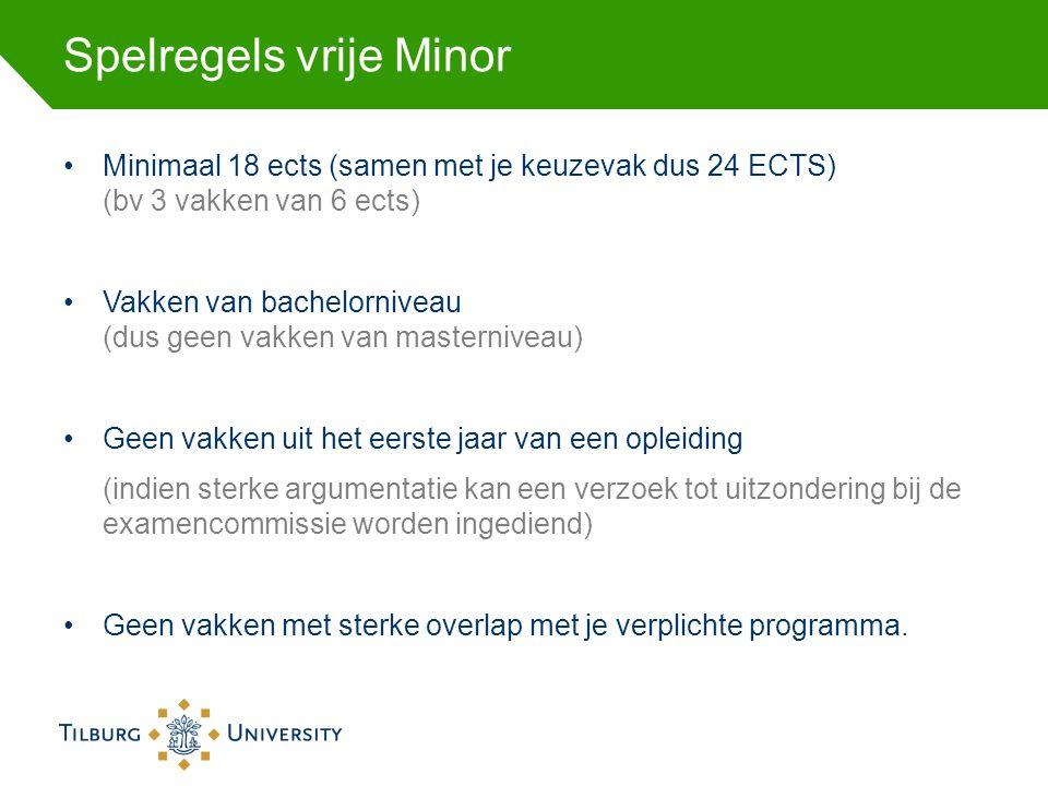 Spelregels vrije Minor Minimaal 18 ects (samen met je keuzevak dus 24 ECTS) (bv 3 vakken van 6 ects) Vakken van bachelorniveau (dus geen vakken van ma