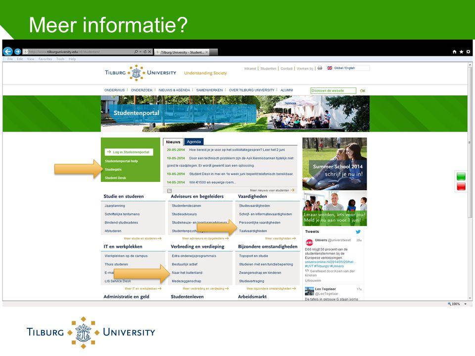 Meer informatie? http://www.tilburguniversity.edu/nl/studenten/