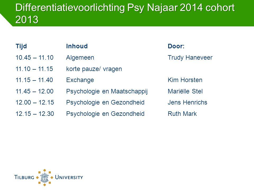 Differentiatievoorlichting Psy Najaar 2014 cohort 2013 TijdInhoudDoor: 10.45 – 11.10 Algemeen Trudy Haneveer 11.10 – 11.15 korte pauze/ vragen 11.15 –