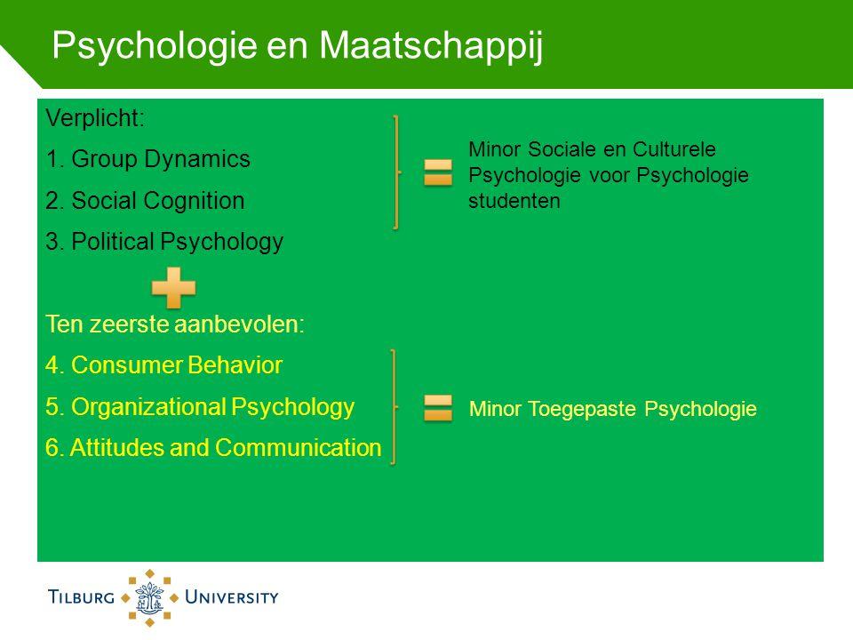 Psychologie en Maatschappij Verplicht: 1. Group Dynamics 2. Social Cognition 3. Political Psychology Ten zeerste aanbevolen: 4. Consumer Behavior 5. O