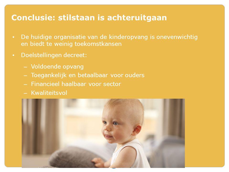 De huidige organisatie van de kinderopvang is onevenwichtig en biedt te weinig toekomstkansen Doelstellingen decreet: – Voldoende opvang – Toegankelij