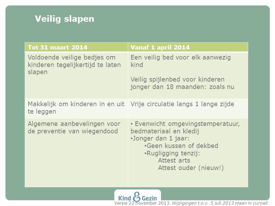 Veilig slapen Tot 31 maart 2014Vanaf 1 april 2014 Voldoende veilige bedjes om kinderen tegelijkertijd te laten slapen Een veilig bed voor elk aanwezig