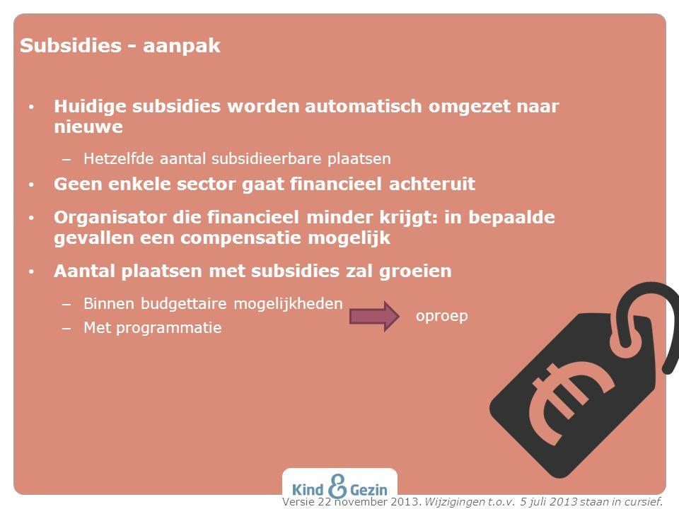 Subsidies - aanpak Huidige subsidies worden automatisch omgezet naar nieuwe – Hetzelfde aantal subsidieerbare plaatsen Geen enkele sector gaat financi