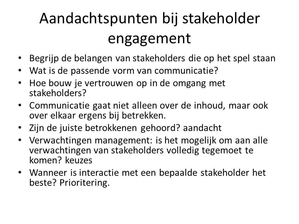 Aandachtspunten bij stakeholder engagement Begrijp de belangen van stakeholders die op het spel staan Wat is de passende vorm van communicatie? Hoe bo