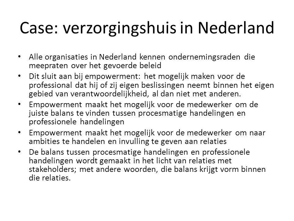 Case: verzorgingshuis in Nederland Alle organisaties in Nederland kennen ondernemingsraden die meepraten over het gevoerde beleid Dit sluit aan bij em