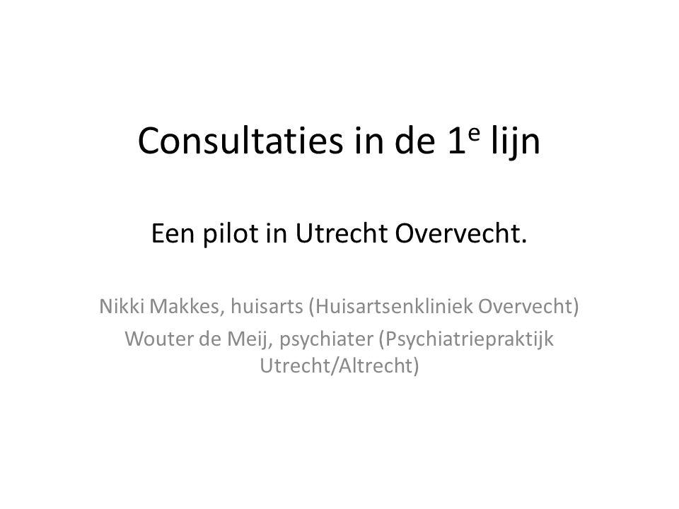 Consultaties in de 1 e lijn Een pilot in Utrecht Overvecht. Nikki Makkes, huisarts (Huisartsenkliniek Overvecht) Wouter de Meij, psychiater (Psychiatr