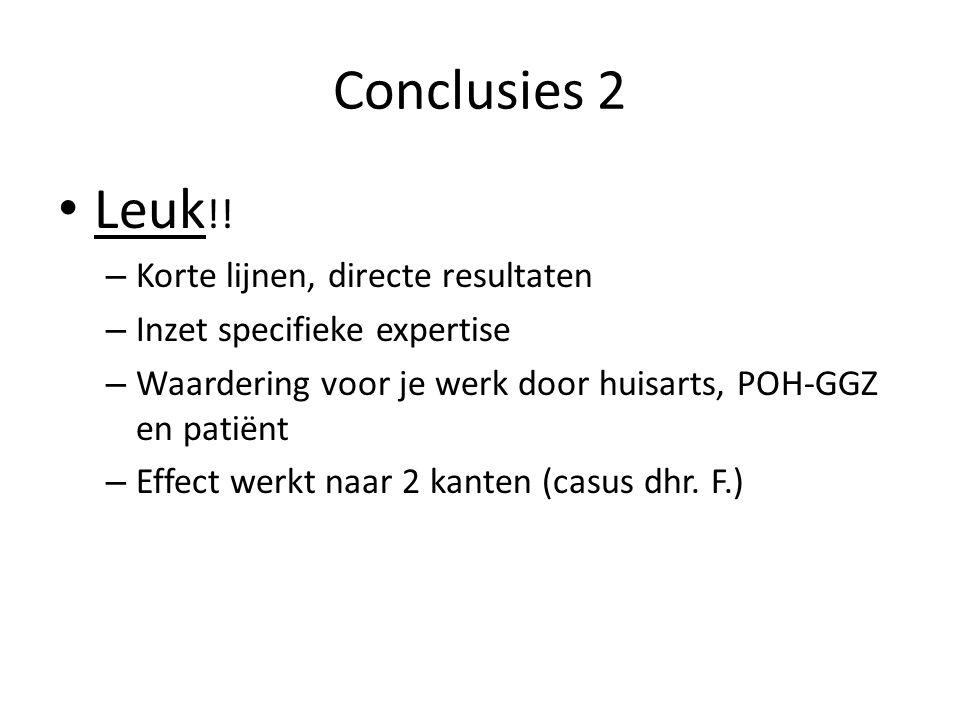 Conclusies 2 Leuk !! – Korte lijnen, directe resultaten – Inzet specifieke expertise – Waardering voor je werk door huisarts, POH-GGZ en patiënt – Eff