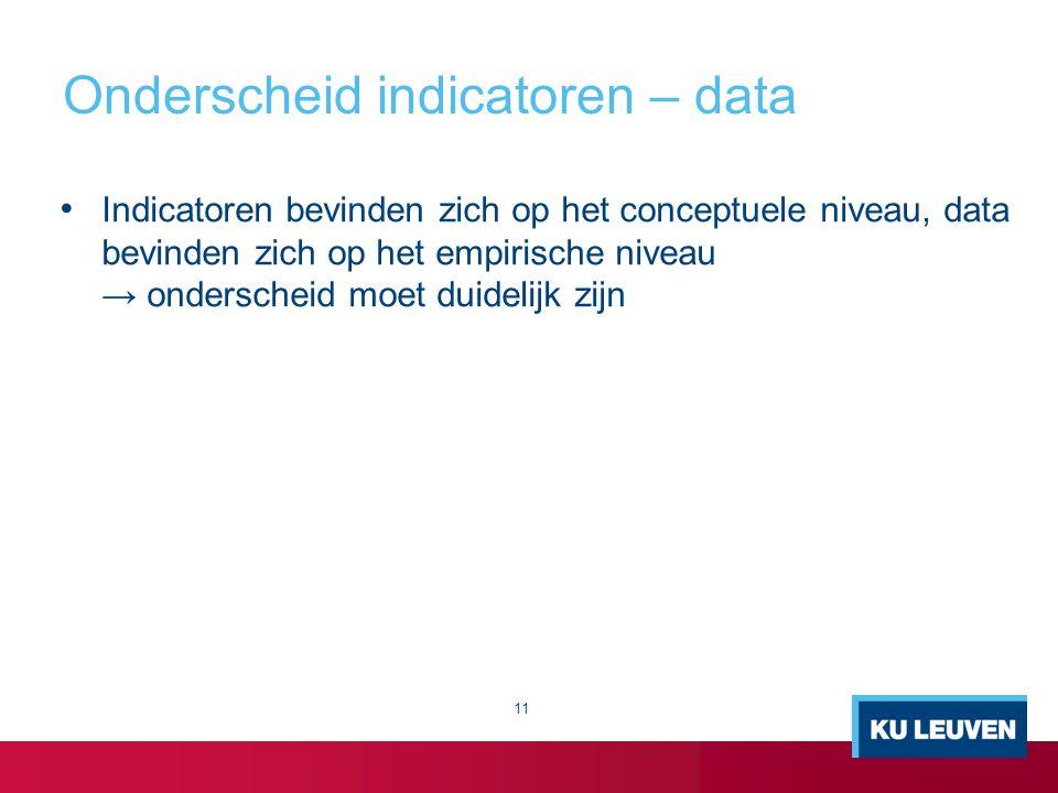 Onderscheid indicatoren – data Indicatoren bevinden zich op het conceptuele niveau, data bevinden zich op het empirische niveau → onderscheid moet dui