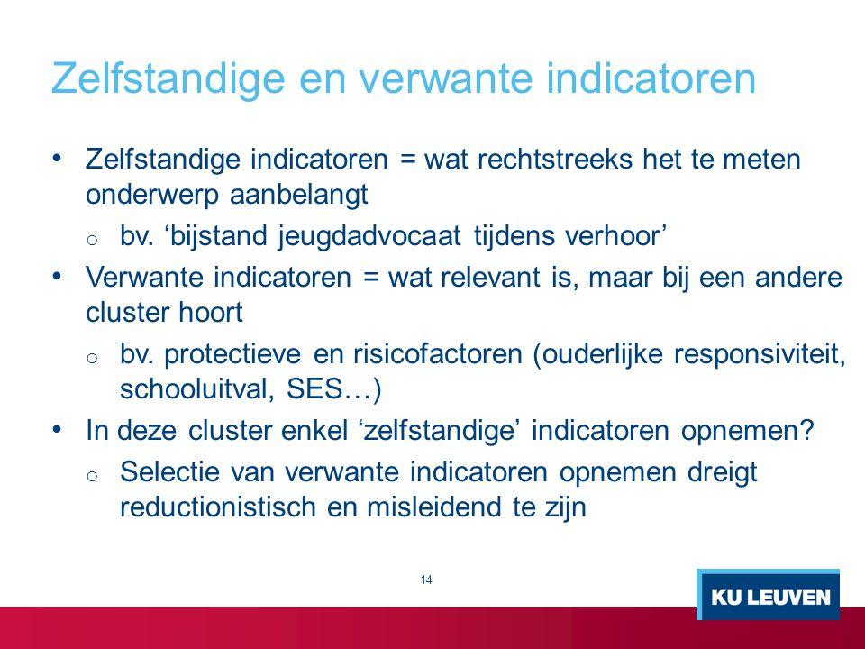 Zelfstandige en verwante indicatoren Zelfstandige indicatoren = wat rechtstreeks het te meten onderwerp aanbelangt o bv. 'bijstand jeugdadvocaat tijde