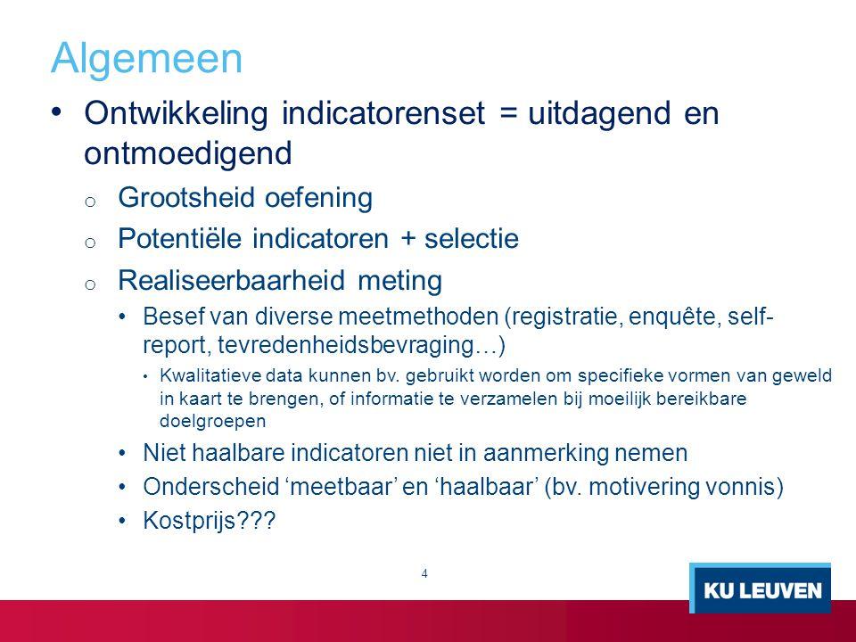 Ontwikkeling indicatorenset = uitdagend en ontmoedigend o Grootsheid oefening o Potentiële indicatoren + selectie o Realiseerbaarheid meting Besef van